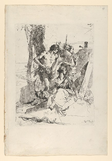Fascinating Historical Picture of Giovanni Battista Tiepolo with The Discovery of the Tomb of Punchinello from the Scherzi in 1743