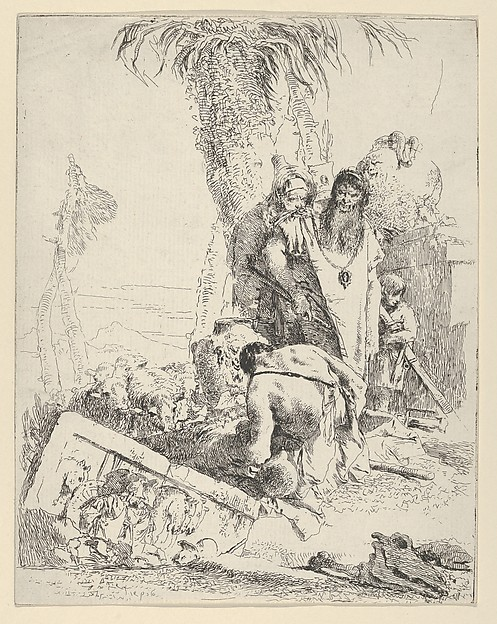Fascinating Historical Picture of Giovanni Battista Tiepolo with Shepherd with Two Magicians from the Scherzi in 1743