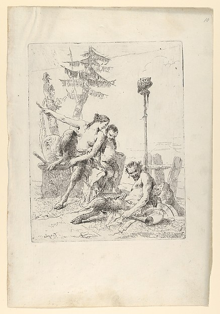 Fascinating Historical Picture of Giovanni Battista Tiepolo with Satyr Family (Pan and his Family) from the Scherzi in 1743