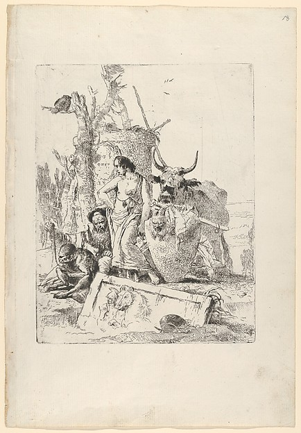 Young shepherdess and old man with a monkey, from the Scherzi