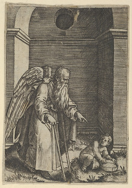 Fascinating Historical Picture of  with An elderly winged man with a long beard walking with crutches possibly representing Time gesturing in 1510