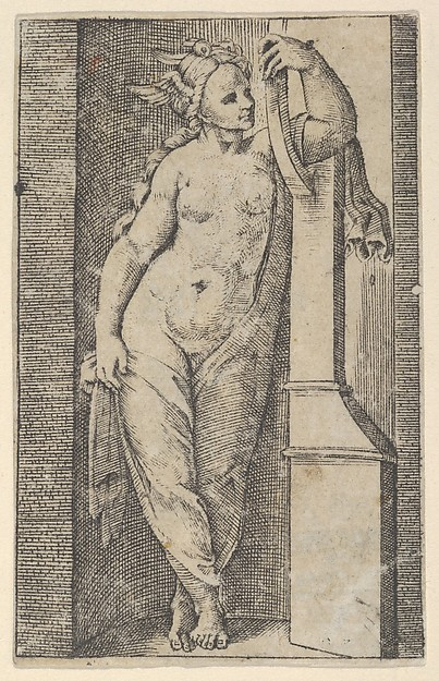 Fascinating Historical Picture of Marcantonio Raimondi with Woman with a winged head standing in a niche in 1510