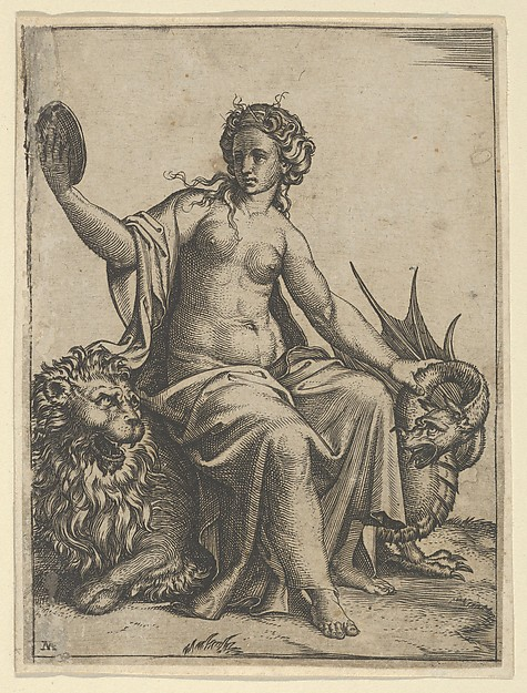 Fascinating Historical Picture of Marcantonio Raimondi with Prudence as a young woman sitting on a lion and holding the neck of a dragon with her left hand ho in 1510