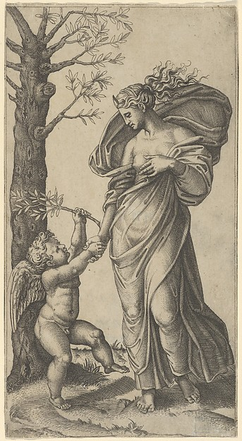 An allegory of Peace; Peace personified as a woman standing in a landscape  holding the left hand of a winged genius, tree at left