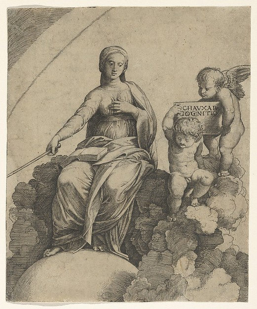 Fascinating Historical Picture of Marcantonio Raimondi with A personification of Philosophy sitting on clouds with her feet resting on a globe two putti at rig in 1510