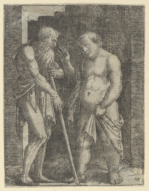 Fascinating Historical Picture of Marcantonio Raimondi with An old skinny man at left talking with a fat man at right in 1510