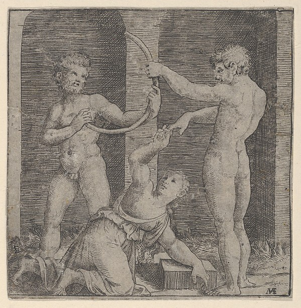 Fascinating Historical Picture of Marcantonio Raimondi with A woman kneeling at centre reaching up with her right hand to place a ring on the finger of a naked in 1510