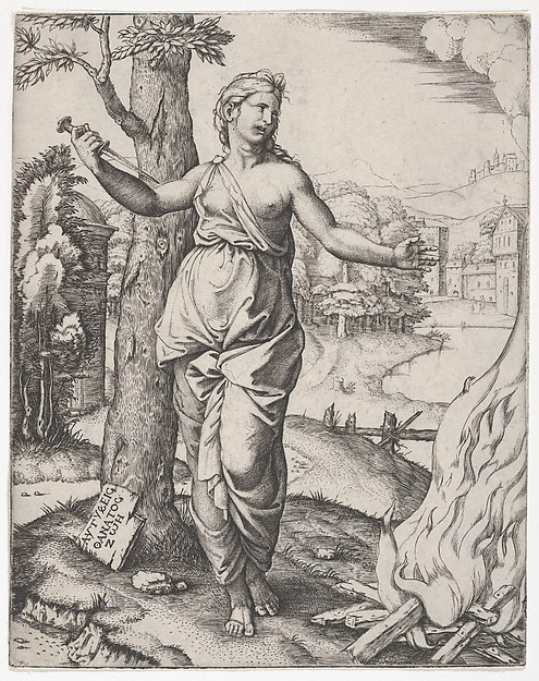 Fascinating Historical Picture of Marcantonio Raimondi with Dido holding a dagger in her right hand left arm outstreched in 1510