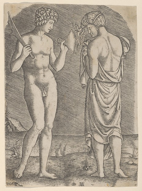 Fascinating Historical Picture of Marcantonio Raimondi with A naked man at left showing an axe to a woman at right in 1510