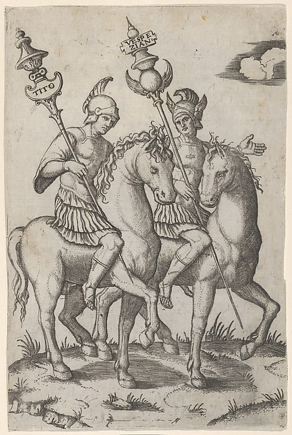 Fascinating Historical Picture of Marcantonio Raimondi with Titus and Vespanian both on horseback in 1510