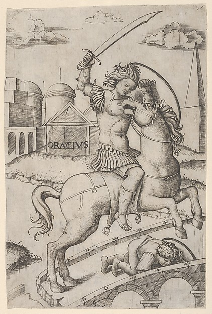 Fascinating Historical Picture of Marcantonio Raimondi with Horatius Cocles on horseback trampling a fallen soldier in 1510