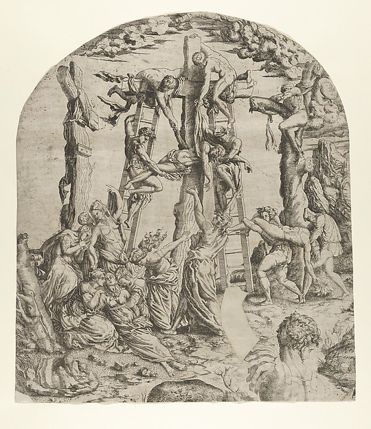 Fascinating Historical Picture of Master I 0 V with Descent from the Cross in 1543