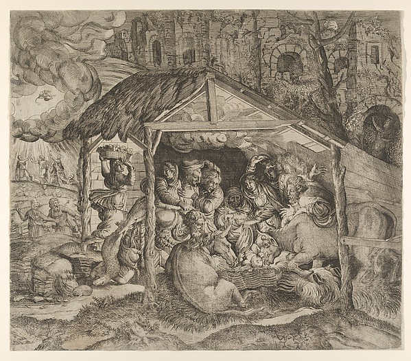 Fascinating Historical Picture of Master I 0 V with Adoration of the Shepherds in 1543