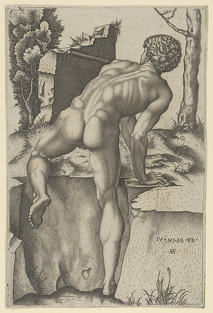Fascinating Historical Picture of Marcantonio Raimondi with Naked man viewed from behind climbing a river bank after Michelangelo in 1509