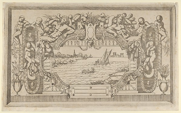 Fascinating Historical Picture of Antonio Fantuzzi with Landscape with Ornamental Frame in 1543