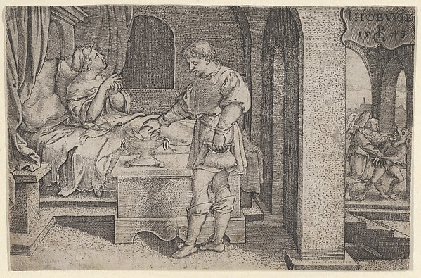 Fascinating Historical Picture of Georg Pencz with Tobiolus Makes a Propitiatory Sacrifice from The Story of Tobias in 1543