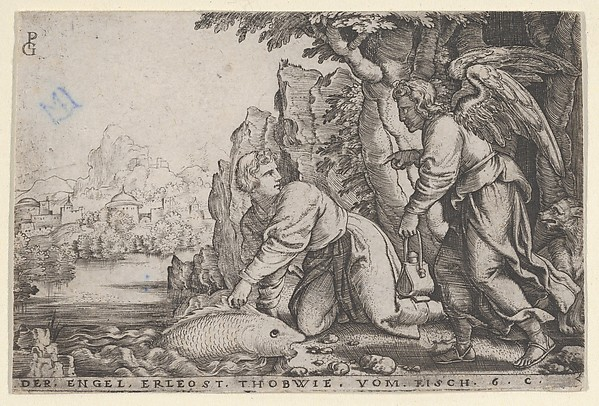 Fascinating Historical Picture of Georg Pencz with Tobiolus Catches the Fish from The Story of Tobias in 1543