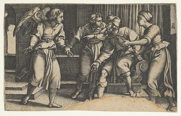 Fascinating Historical Picture of Georg Pencz with Tobias and the Archangel Raphael from The Story of Tobias in 1543