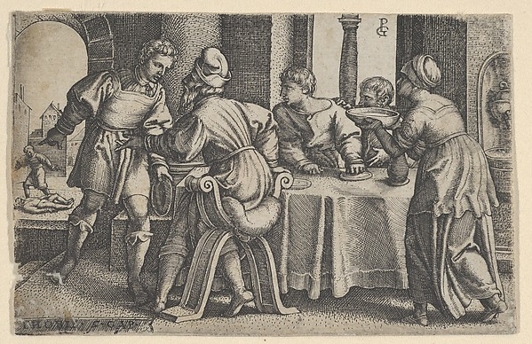 Fascinating Historical Picture of Georg Pencz with Tobias Leaving the Table from The Story of Tobias in 1543