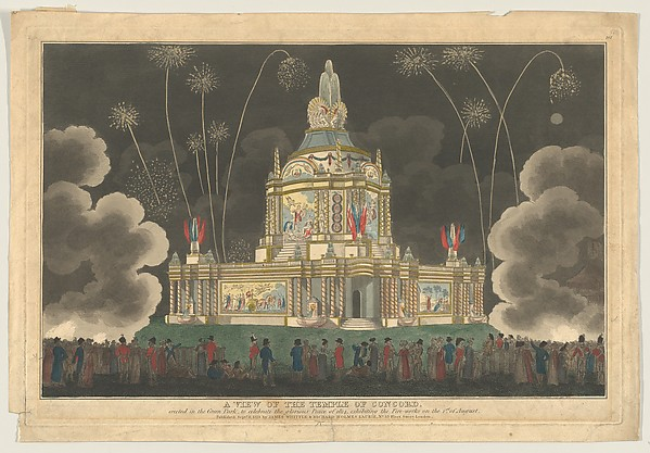 Fascinating Historical Picture of  with A View of the Temple of Concord Erected in the Green Park to Celebrate the Glorious Peace of 1814 on 9/9/1814