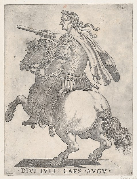 Plate 1: Emperor Julius Caesar on Horseback, from 'The First Twelve Roman Caesars'