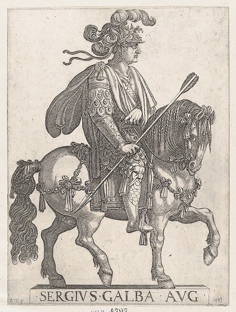 Fascinating Historical Picture of Antonio Tempesta with Plate 7| Emperor Galba on Horseback from The First Twelve Roman Caesars in 1596