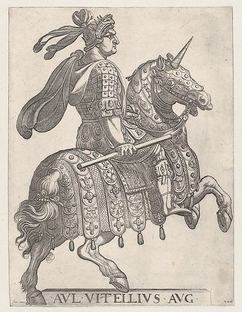 Fascinating Historical Picture of Antonio Tempesta with Plate 9| Emperor Vitellus on Horseback from  The First Twelve Roman Caesars in 1596