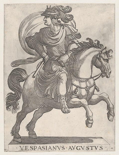 Fascinating Historical Picture of Antonio Tempesta with Emperor Vespasian on Horseback from the series The First Twelve Roman Caesars plate 10 in 1596
