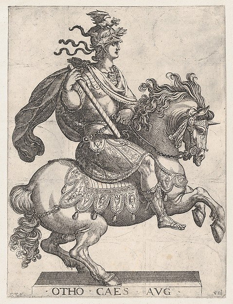 Fascinating Historical Picture of Antonio Tempesta with Plate 8| Emperor Otho on Horseback from The First Twelve Roman Caesars in 1596