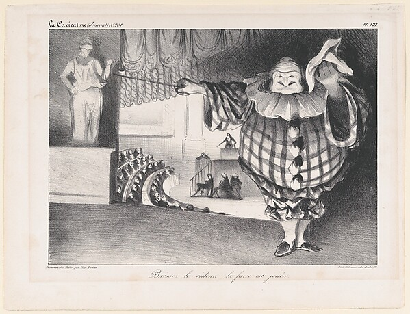 Fascinating Historical Picture of Honor Daumier with Baissez le Rideau La Farce est Joue (Bring Down the Curtain; the Farce is Over) published in L on 9/11/1834