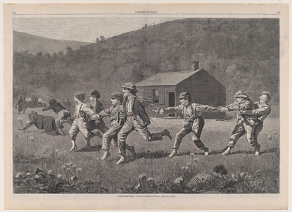 Fascinating Historical Picture of  with Snap-the-Whip  Drawn by Winslow Homer (Harpers Weekly Vol. XVII) on 9/20/1873