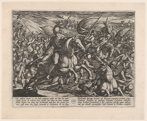This is What Antonio Tempesta and Plate 30| Cerialis Driving the Dutch into the Rhine from The War of the Romans Against the Batavian Looked Like  in 1611