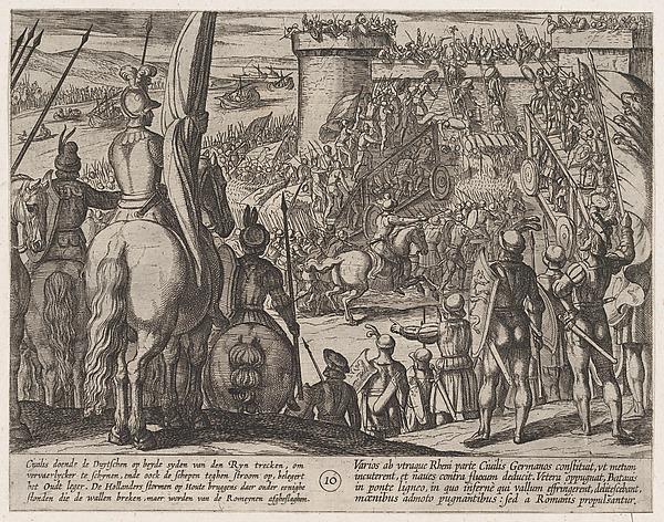 This is What Antonio Tempesta and Plate 10| Civilis using Movable Wooden Bridges to Attack the Fortress from The War of the Romans Ag Looked Like  in 1611