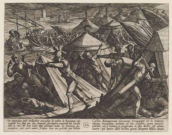 This is What Antonio Tempesta and Plate 32| Dutch and Germans Atttack the Roman Camp and Capture Cerialis Boat from The War of the R Looked Like  in 1611