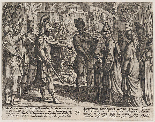 This is What Antonio Tempesta and Plate 28| Cologne Troops Bring Civilis Wife and Sister to Cerialis from The War of the Romans Agai Looked Like  in 1611