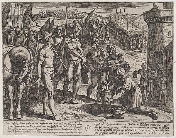 This is What Antonio Tempesta and Plate 21| Envoys from Cologne Bring Presents to Civilis from The War of the Romans Against the Bata Looked Like  in 1611