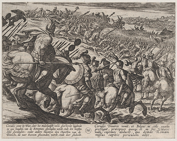 This is What Antonio Tempesta and Plate 25| The Roman Commander Cerialis Attacks Near Trier from The War of the Romans Against the Ba Looked Like  in 1611