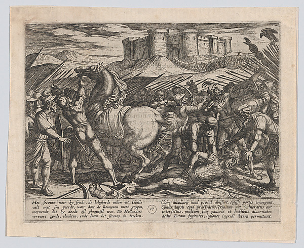 This is What Antonio Tempesta and Plate 17| The Romans Misled by Civilis Horse to Believe that He was Dead or Injured from The War o Looked Like  in 1611