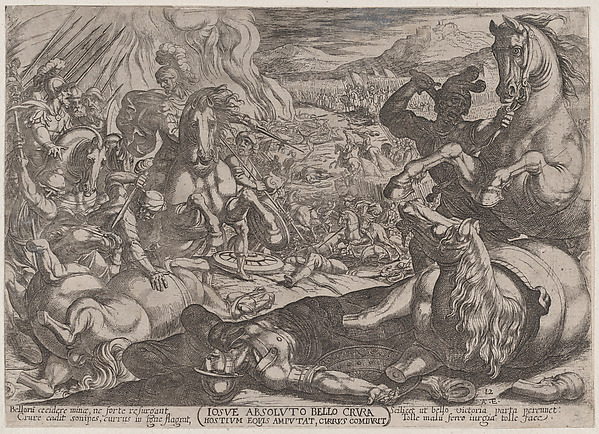 Fascinating Historical Picture of Antonio Tempesta with Plate 12| Joshua Mutilates his Enemies Horses from The Battles of the Old Testament in 1590