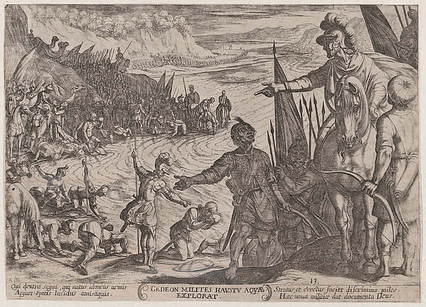 Fascinating Historical Picture of Antonio Tempesta with Plate 13| Gideon Choosing his Soldiers from The Battles of the Old Testament in 1590