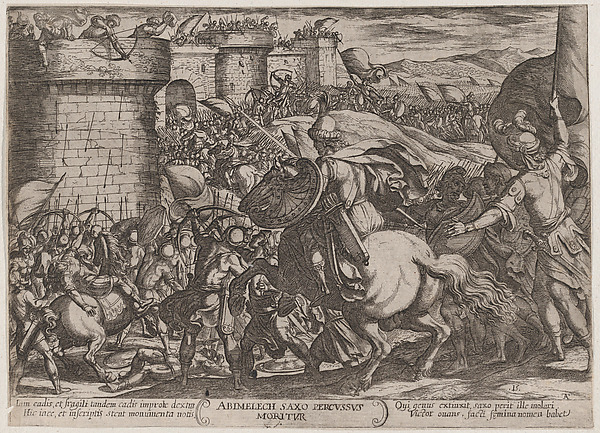 Fascinating Historical Picture of Antonio Tempesta with Plate 15| The Death of Abimelech from The Battles of the Old Testament in 1590