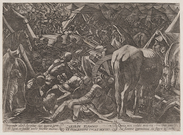 Fascinating Historical Picture of Antonio Tempesta with Plate 14| Gideon Terrorizing the Enemy Camp from The Battles of the Old Testament in 1590