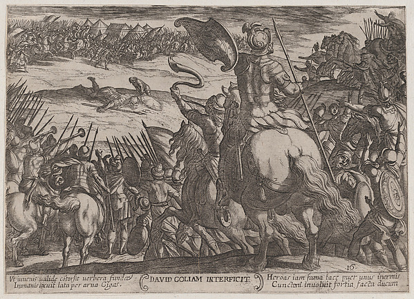 Fascinating Historical Picture of Antonio Tempesta with Plate 16| David Killing Goliath from The Battles of the Old Testament in 1590