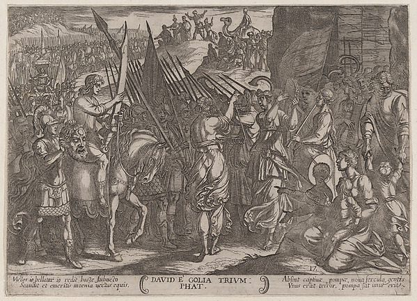 Fascinating Historical Picture of Antonio Tempesta with Plate 17| David Returning in Triumph with the Head of Goliath from The Battles of the Old Testamen in 1590