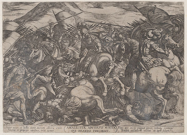 Fascinating Historical Picture of Antonio Tempesta with Plate 9| The Israelites Battling the Amalekites from The Battles of the Old Testament in 1590