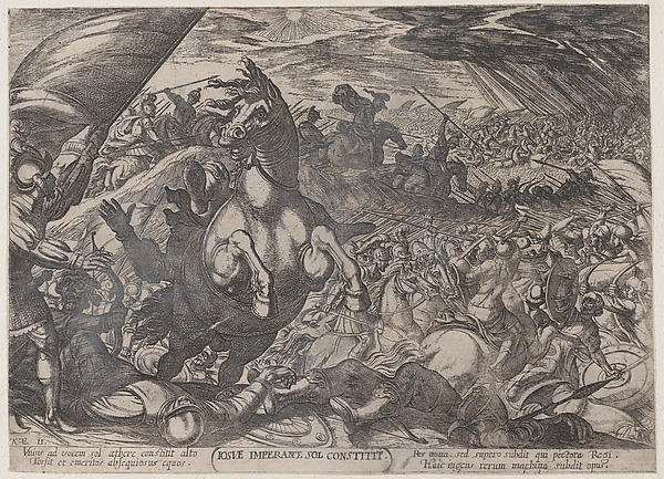 Fascinating Historical Picture of Antonio Tempesta with Plate 11| Joshua Ordering the Sun to Stand Still from The Battles of the Old Testament in 1590