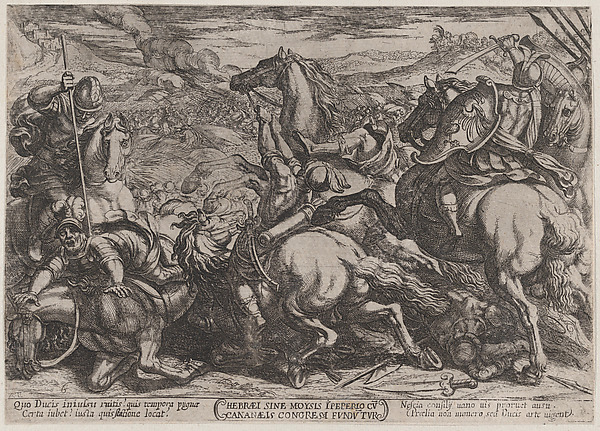 Fascinating Historical Picture of Antonio Tempesta with Plate 6| The Israelites Defeated by the Canaanites for Having Disobeyed Moses from The Battles of in 1590