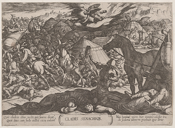 Fascinating Historical Picture of Antonio Tempesta with Plate 21| The Angel of the Lord Vanquishing the Army of Sennacherib from The Battles of the Old Te in 1590