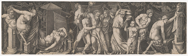 Fascinating Historical Picture of Marcantonio Raimondi with A Bacchanal Silenus supported by two bacchants in the centre at left a female satyr reclining on a in 1510