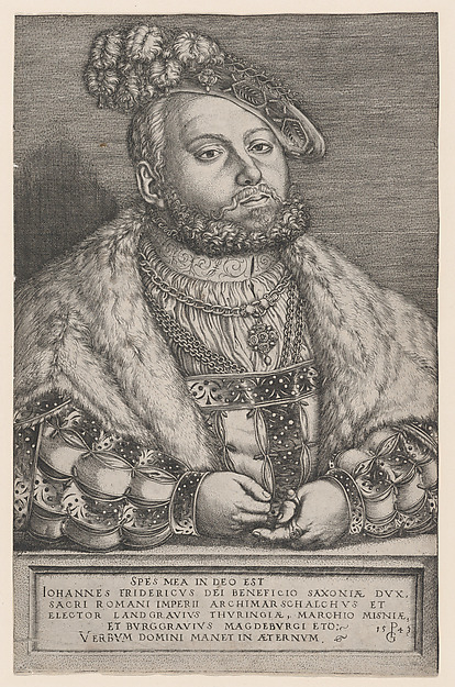 Fascinating Historical Picture of Georg Pencz with Portrait of Johann Friedrich the Magnanimous Elector of Saxony in 1543